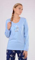 Vienetta Dámské pyžamo dlouhé Liška barva světle modrá