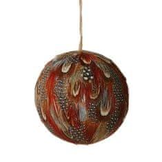 Butlers Vánoční koule s peřím 8 cm - hnědá