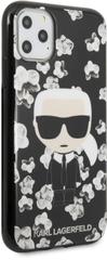 Karl Lagerfeld TPU Flower Kryt pre iPhone 11 Pro Max Black (EU Blister), KLHCN65FLFBBK
