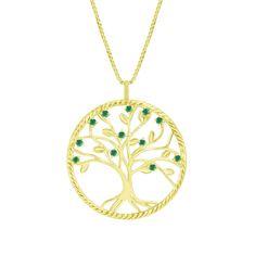 Eppi Strieborný smaragdový náhrdelník v tvare stromu života Arlen P225608