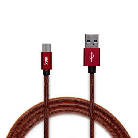 MAX Fonott micro USB kábel, 1m, piros
