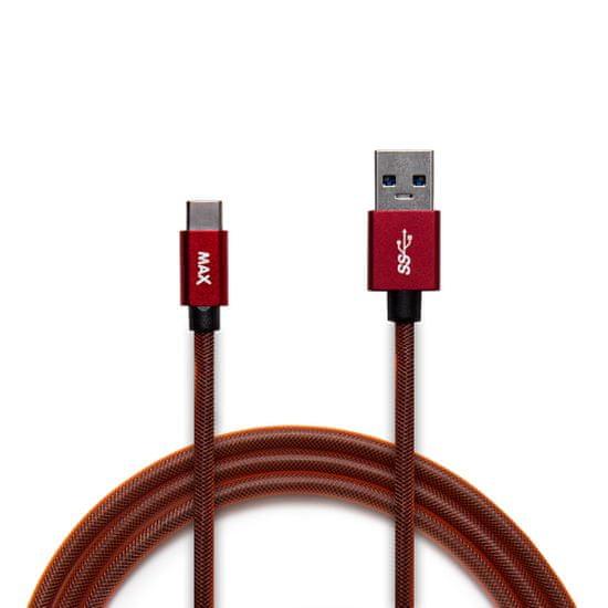 MAX Kábel USB-C opletený, 2m červený - rozbalené
