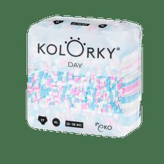 KOLORKY DAY - pruhy - XL (12-16 kg) - 17 ks - jednorázové eko plenky