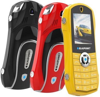 Blaupunkt Car, tlačítkový telefon, kovový, atraktivní design, dlouhá výdrž, jednoduché ovládání, levný dostupný telefon, FM rádio, velký displej