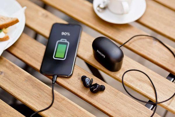philips shb2515 fülhallgató vezeték nélküli Bluetooth kampók a fülre kiváló minőségű 6 mm-es hangszórók mikrofon handsfree telefonáláshoz multifunkciós gomb intelligens párosítás puha füldugók 5 óra üzemidő akár 100 óra a töltőtokkal