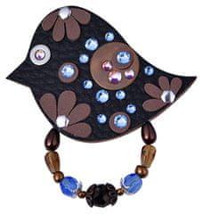 Petra Švarcová Čierna brošňa s modrými kamienkami Vták