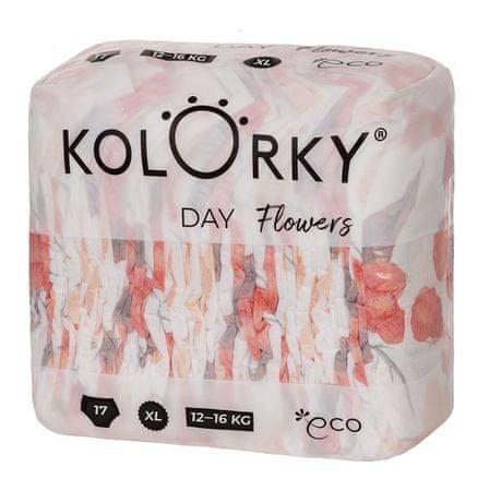KOLORKY jednorazowe pieluchy ekologiczne DAY - kwiaty - XL (12 - 16 kg), 17 szt.