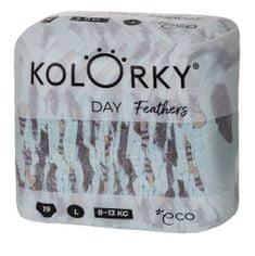 KOLORKY DAY - peří - L (8-13 kg) - 19 ks - jednorázové eko plenky