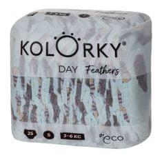 KOLORKY DAY - peří - S (3-6 kg) - 25 ks - jednorázové eko plenky
