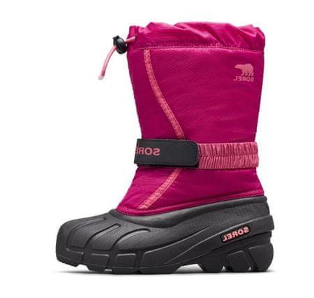 Sorel dekliški snežni čevlji outh Flurry, 6, Deep Blush, Tropic Pink