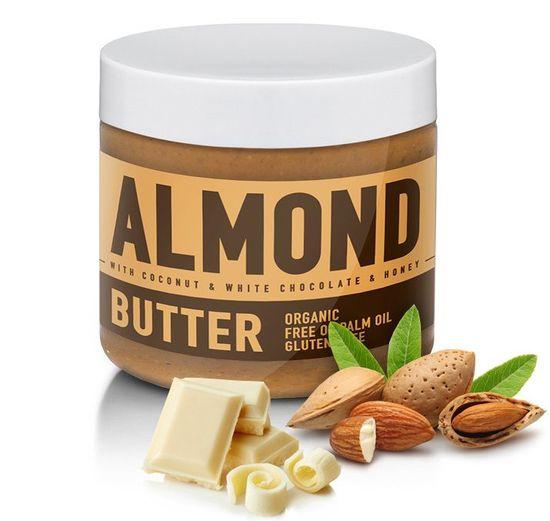 Sizeandsymmetry mandlové máslo s bílou čokoládou, kokosem a medem 500g