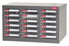 Shuter Galvanizovaný kovový organizér pro dílenský materiál a díly s 18 zásuvkami A6-318P | Shuter