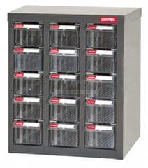Shuter Galvanizovaný kovový organizér pro dílenský materiál a díly s 15 zásuvkami A8-315 | Shuter