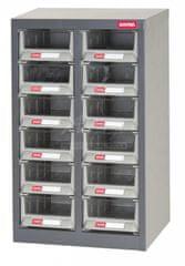 Shuter Kovový organizér pre dielenský materiál s 12 plastovými boxami - A6V-212H | Shuter