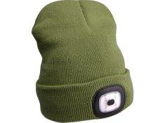 Extol Light Čepice s čelovkou, nabíjecí, USB, zelená, univerzální velikost