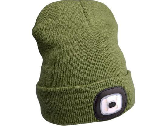 Extol Light Čiapka s čelovkou, nabíjací, USB, zelená, univerzálna veľkosť