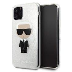 Karl Lagerfeld Glitter Iconic Kryt pre iPhone 11 Pro Silver (EU Blister), KLHCN58TPUTRIKSI