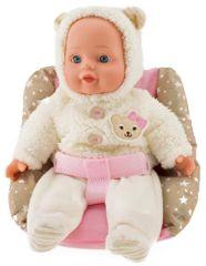 Teddies Panenka miminko v zimním oblečku měkké tělo v sedačce plast 30cm, 24m+