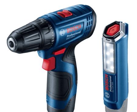 BOSCH Professional GSR 120 LI akumulatorski vrtalni vijačnik + GLI 12V-300 svetilka (06019G8004)