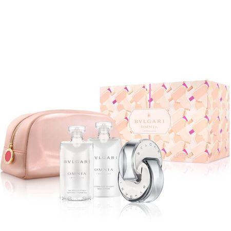 Bvlgari Omnia Crystalline - EDT 65 ml + gel za prhanje 75 ml + mleko za telo 75 ml + kozmetična torbica