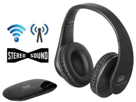 Trevi FRS 1380 brezžične Hi-Fi stereo slušalke, naglavne RF, 30 m - Odprta embalaža
