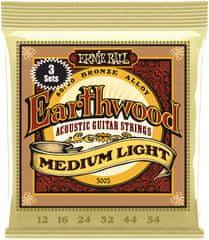 Ernie Ball Earthwood 80/20 Bronze Medium-Light 3 Pack Kovové struny na akustickú gitaru