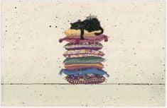 Kiub pogrinjek, črni mačkon na kupu blazin (1372)