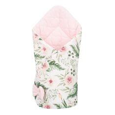 NEW BABY Oboustranná zavinovačka z Velvet New Baby 75x75 cm květiny růžová