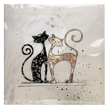 Kiub servieti, papirni, zaljubljena mačkona (1367)