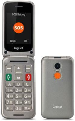 Gigaset GL590, mobil pro seniory, véčko, velká tlačítka, SOS tlačítko, jednoduché ovládání, nabíjecí stojánek