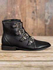 BESTELLE Černé rockové kotníkové boty