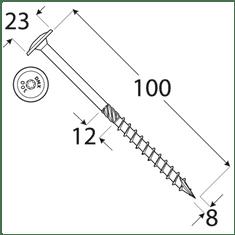 VKP STEEL DRVTK 8x100 TORX konštrukčný vrut