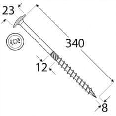 VKP STEEL DRVTK 8x340 TORX konštrukčný vrut