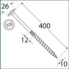 VKP STEEL DRVTK 10x400 TORX konštrukčný vrut