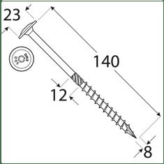 VKP STEEL DRVTK 8x140 TORX konštrukčný vrut