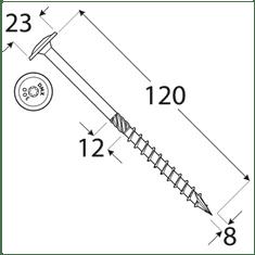 VKP STEEL DRVTK 8x120 TORX konštrukčný vrut