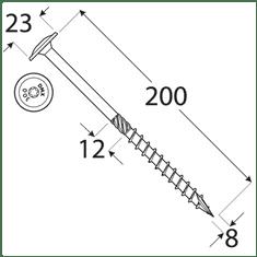 VKP STEEL DRVTK 8x200 TORX konštrukčný vrut