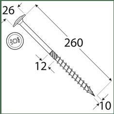 VKP STEEL DRVTK 10x260 TORX konštrukčný vrut