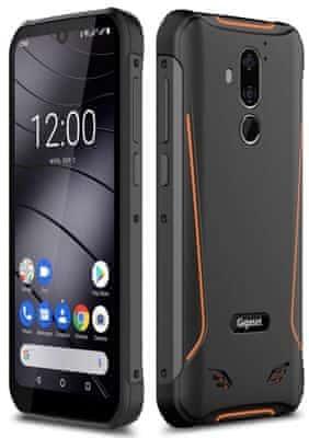 Gigaset GX290, odolný, vodotěsný, IP68, nárazuvzdorný, dlouhá výdrž, velkokapacitní baterie, rychlé nabíjení, bezdrátové nabíjení, reverzní dobíjení, čtečka otisků prstů, odemykání obličejem, NFC