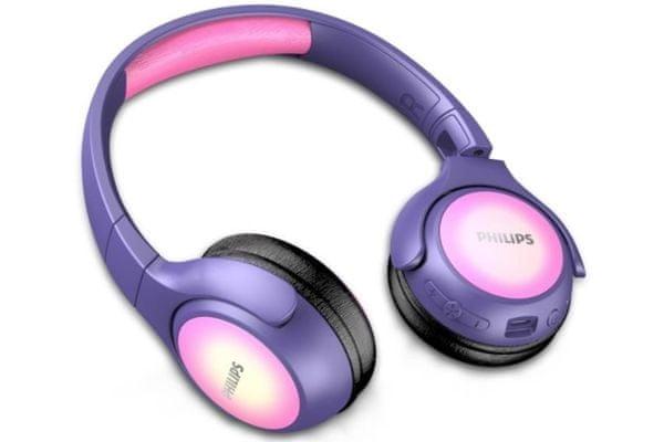 philips takh402 gyerek fejhallgató led diódákkal és matricákkal Bluetooth 5.0 10 m hatótávolság 20 óra akkumulátor üzemidő kényelmes kialakítás neodímium mágnesek tiszta hangzás handsfree mikrofon összecsukható kialakítás