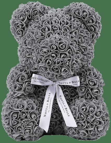 Notta & Belle Medvídek z růží - 35cm, šedá