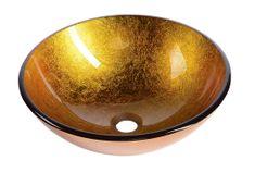 SAPHO AGO skleněné umyvadlo průměr 42 cm, zlatě oranžová (2501-19)