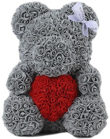 Notta & Belle Medvídek z růží s srdcem - 35сm, šedý