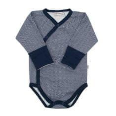 BABY SERVICE Dojčenské celorozopínacie bavlnené body Baby Service Retro modré 50 Modrá