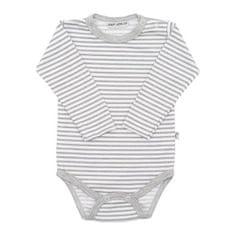 BABY SERVICE Dojčenské bavlnené body Baby Service Retro pruhy sivé 80 (9-12m) Sivá