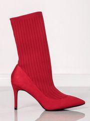 Zajímavé kotníčkové boty červené dámské na jehlovém podpatku
