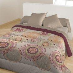 Bleu Calin prošívaný přehoz na postel, 220x240 cm, béžová