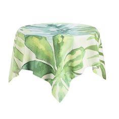 Deko & Co čtvercový ubrus s motivem rostlin, 100x100 cm,zelená