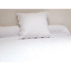 prošívaný přehoz na postel s polštářem, 180x220 cm, bílá