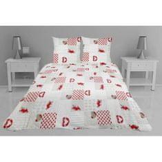 prošívaný přehoz na postel se dvěma polštáři, 260x240 cm, bílá a červená